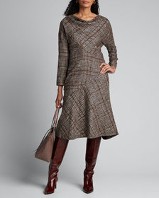 Kiton Cashmere Silk Check-Patchwork Cowl-Neck Dres