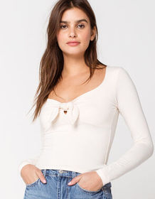 RSQ V Neck Knot Front Ivory Womens Top_