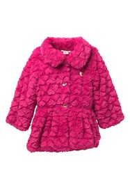 Juicy Couture Fuchsia Embossed Heart Faux Fur Jack