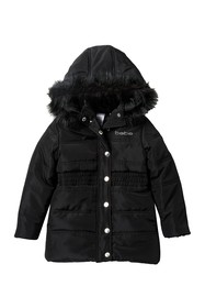 bebe Long Puffer Coat with Faux Fur (Toddler & Lit