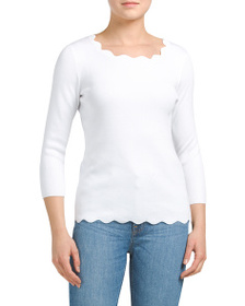 CABLE & GAUGE Pullover Top With Scalloped Detail
