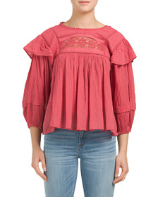 FREE PEOPLE Laura Embroidered Detail Gauze Top
