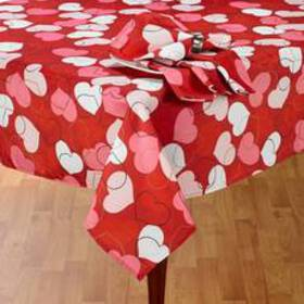Erlene Tossed Hearts Print Tablecloth