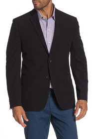 Perry Ellis Black Solid Two Button Notch Lapel Per