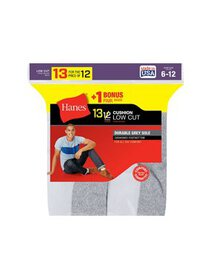 Hanes Men`s 13-Pack Cushion Low Cut Socks, 188V13,