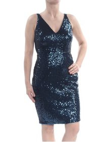 Womens Dress Navy Petite Sheath Sequined V-Neck 14