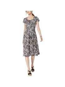 NY Collection Womens Petites Printed Pleated Casua