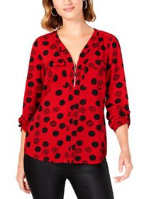 NY Collection Womens Petites Polka Dot Printed Blo