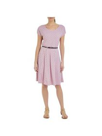 NY Collection Womens Petites Polka Dot A-Line Scub