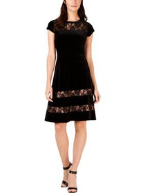 NY Collection Womens Petites Velvet Lace Inset Par