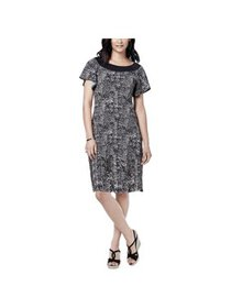 NY Collection Womens Petites Printed Short Sleeves
