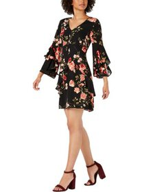Signature By Robbie Bee Womens Petites Floral Ruff