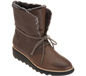 Clarks Collection Leather Lace-Up Winter Boots - S