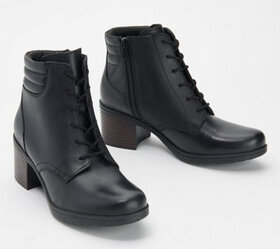 Clarks Collection Leather Lace-Up Ankle Boots - Ho