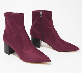 Marc Fisher Microsuede Stretch Ankle Boots - Jeric