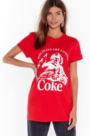 Nasty Gal Red Holidays Are Coming Coke Graphic Tee