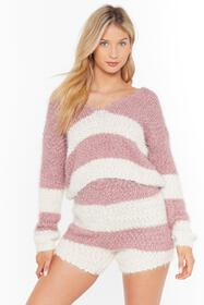 Nasty Gal Mauve Stripe tape yarn knitted lounge to