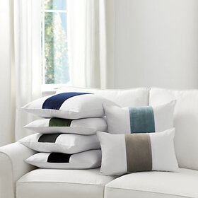 Velvet Colorblock Linen Pillow Cover