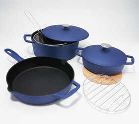 """As Is"" Cook's Essentials Cast-Iron Elite 8-Pc Coo"