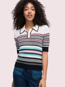 texture mix polo sweater