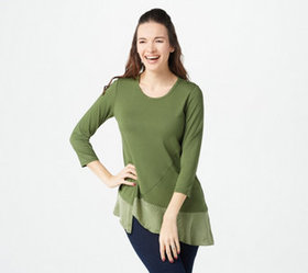 LOGO by Lori Goldstein Rayon 230 Top with Asymmetr