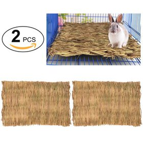 2Pcs Grass Hamster Bed Woven Small Animal Mat Safe
