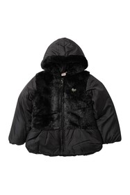 Juicy Couture Black Faux Fur Trimmed Puffer Jacket