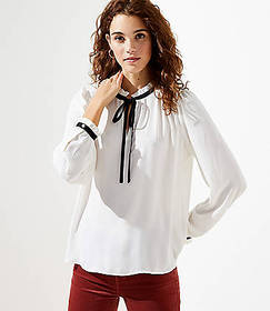 Shirred Ruffle Tie Neck Blouse
