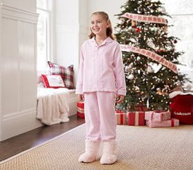 Pottery Barn Light Pink Solid Flannel Pajama