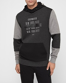 Express gray color block graphic hoodie