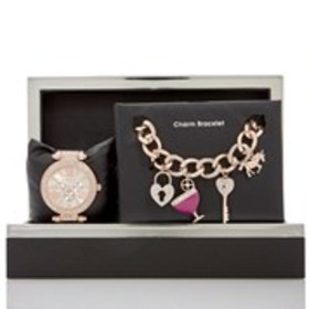 BEBE Womens Crystal Rose Gold Chronograph Watch &