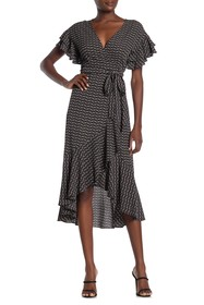 Max Studio Ruffle Crepe High/Low Wrap Midi Dress