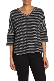 Max Studio Stripe V-Neck Knit Shirt