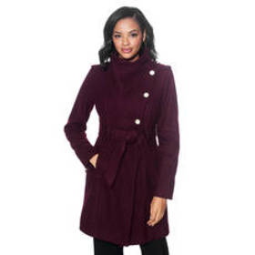 Womens Guess Melton Wrap Wool Coat with Belt