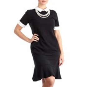 SHELBY & PALMER Collard Neck Career Dress with Pea