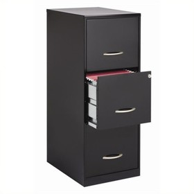 Steel 3 Drawer Letter File Cabinet in Black-Pember