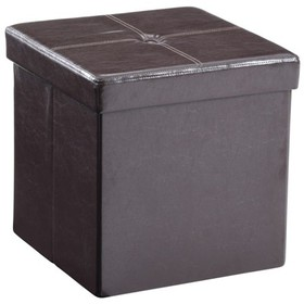 Cube Foldable Faux Leather Storage Ottoman in Brow