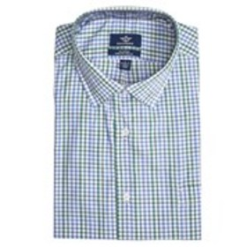 Mens Classic Fit Stretch Collar Long Sleeve Checke