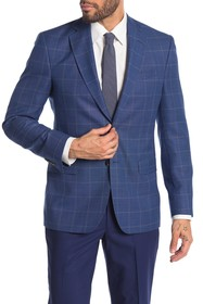 Ted Baker London Jarrow Blue Windowpane Wool Two B