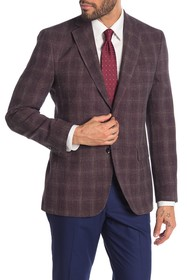 Ted Baker London Jarrow Burgundy Textured Plaid Tw