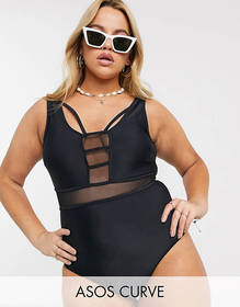 ASOS DESIGN curve contrast mesh insert swimsuit in