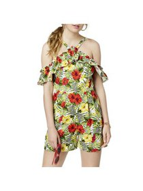 XOXO Womens Juniors Cold Shoulder Floral Print Rom