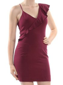 Junior One Shoulder Ruffle V-Neck Bodycon Sheath D
