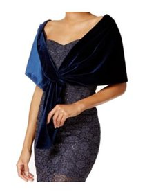 SLNY NEW Navy Blue One Size Velvet Knit Loop-Throu