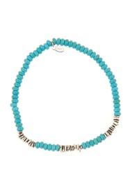 LINK-UP Turquoise Silver Shells Beaded Bracelet