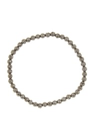LINK-UP 4mm Oxidized Gunmetal Beaded Bracelet