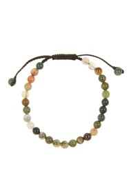 LINK-UP Moss Agate Beaded Slide Bracelet
