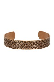 LINK-UP Embossed Basketweave Textured Cuff Bracele