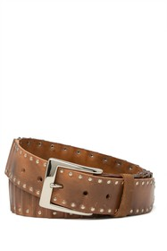 W.KLEINBERG Studded Layered Leather Belt
