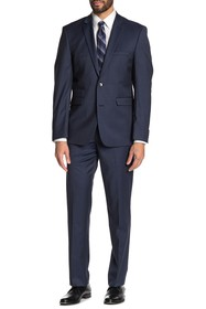 Vince Camuto Blue Solid Two Button Notch Lapel Woo